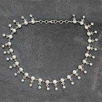 Cultured pearl waterfall necklace, 'Gratitude' - Bridal jewellery Sterling Silver Pearl Strand Necklace