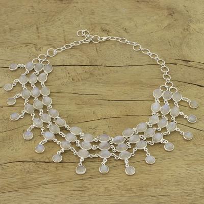 Rainbow moonstone collarette necklace, 'Ice' - Sterling Silver Rainbow Moonstone Statement Necklace