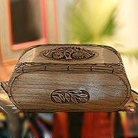 Walnut jewelry box, 'Hummingbird Tree' - Hand Carved Walnut Wood Jewelry Box