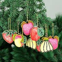Beaded ornaments, 'Tropical Fruits' (set of 10)