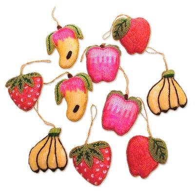 Beaded ornaments, 'Tropical Fruits' (set of 10) - Beaded ornaments (Set of 10)