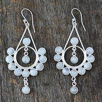 Rainbow moonstone earrings, 'Circles'
