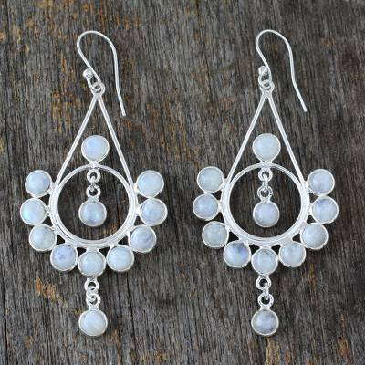 Rainbow moonstone earrings, 'Circles' - Moonstone Silver Earrings Handmade Indian Style Jewelry