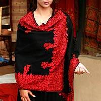 Wool shawl, 'Black Floral Drama' - Floral Wool Wrap Embroidered Black Red Shawl