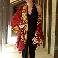 Wool shawl, 'Wine Floral Drama' - Wool Shawl Embroidered Handcrafted Burgundy Wrap