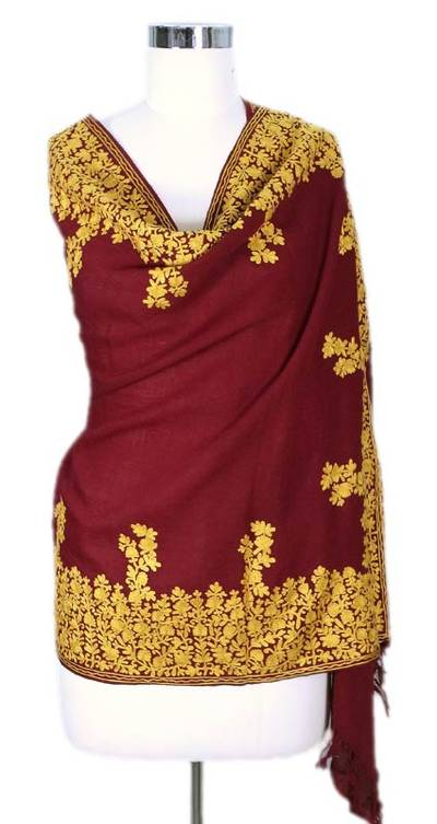 Wool shawl, 'Wine Floral Drama' - Wool Shawl Embroidered Handcrafted Burgundy Wrap