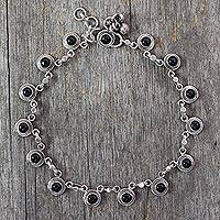 Onyx anklet, 'Dark Moon' - Onyx and Sterling Silver Ankle Jewelry from India