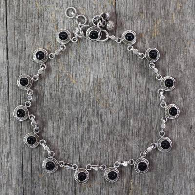 Onyx anklet, 'Dark Moon' - Onyx and Sterling Silver Ankle jewellery from India