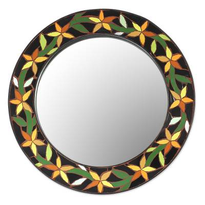 Mirror, 'Daffodils' - Fair Trade Indian Mosaic Ceramic Mirror