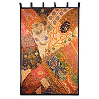 Cotton wall hanging, 'Sunset Mosaic' - Handmade Colorful Cotton Wall Tapestry