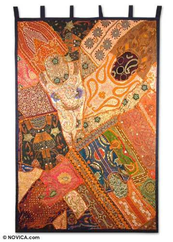 Cotton wall hanging, 'Sunset Mosaic' - Handmade Recycled Cotton Gujarati Wall Hanging