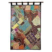 Cotton patchwork wall hanging, 'Benevolent Earth'