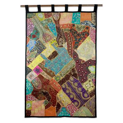 Cotton patchwork wall hanging, 'Benevolent Earth' - Artisan Crafted Gujarati Recycled Cotton Wall Hanging