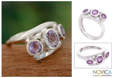 Amethyst 3 stone ring, 'Lilac Trio' - Sterling Silver Wrap Amethyst Ring