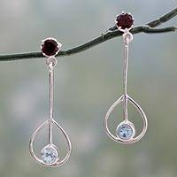 Garnet and topaz dangle earrings, 'Mod Swing' - Hand Crafted Blue Topaz and Garnet Earrings