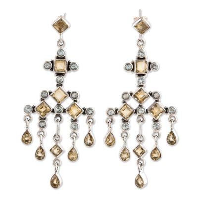 Citrine and topaz chandelier earrings, 'Fountain' - Unique Sterling Silver and Topaz Chandelier Earrings
