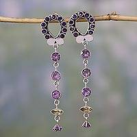 Amethyst and citrine dangle earrings, 'Love Loop' - Amethyst and citrine dangle earrings
