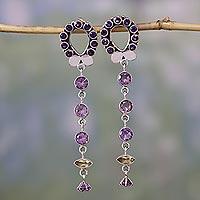 Amethyst and citrine dangle earrings, 'Love Loop'