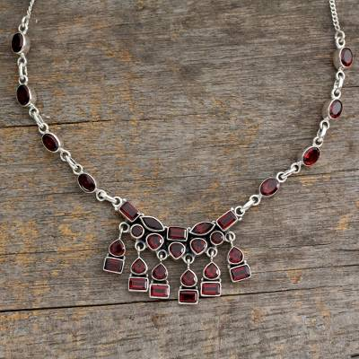 Garnet waterfall necklace, 'Queen of India' - Indian Sterling Silver and Garnet Necklace
