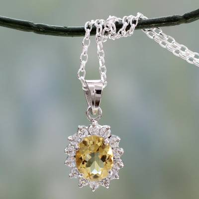 Citrine floral necklace, 'Dazzle' - Citrine and Sterling Silver Necklace from India