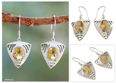 Citrine dangle earrings, 'Lemon Dewdrop' - Sterling Silver and Citrine Dangle Earrings