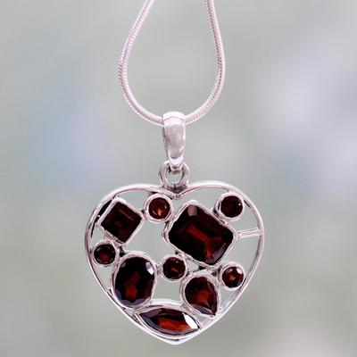 Garnet heart necklace, 'My Love' - Garnet Heart Necklace Artisan Crafted Birthstone Jewelry