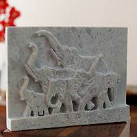 Soapstone panel, 'Loyal Elephants'