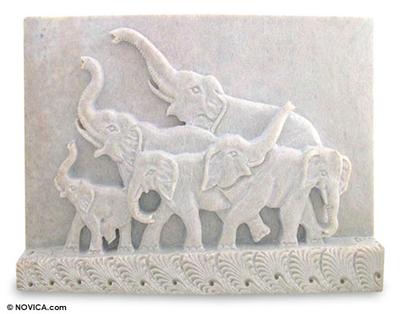 Soapstone panel, 'Loyal Elephants' - Soapstone panel