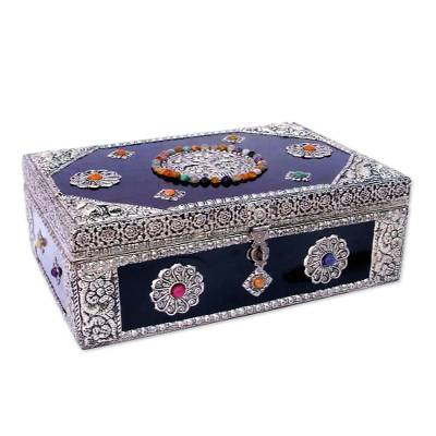 Brass jewelry box, 'Antique Sophistication' - Repousse Brass jewellery Box