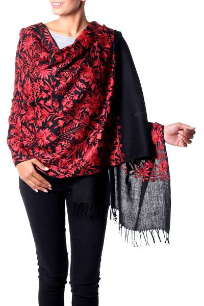 Wool shawl, 'Wild Crimson' - Wool Shawl Embroidered Hand Crafted Wrap