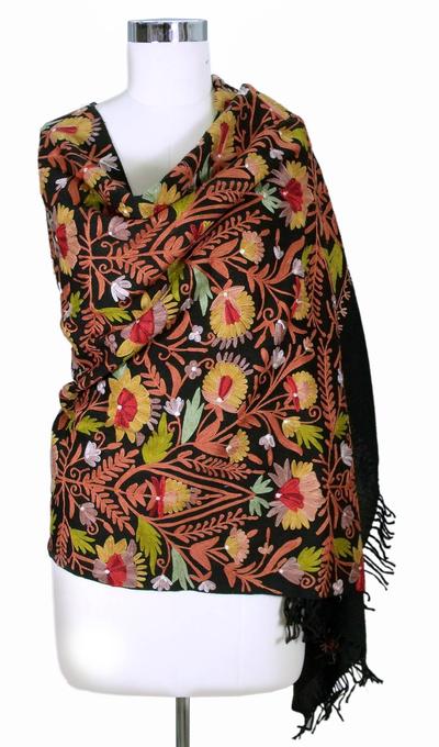 Wool shawl, 'Wild Garden' - Artisan Crafted Floral Wool Embroidered Shawl