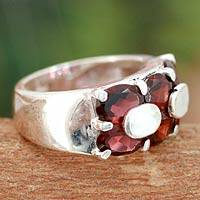Garnet cocktail ring, 'Love Talks' - Artisan Crafted Sterling Silver Garnet Ring