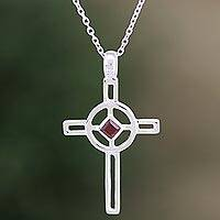 Garnet cross necklace, 'Celtic Cross' - Sterling Silver and Garnet Pendant Necklace