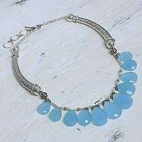 Chalcedony waterfall necklace, 'Blue Petals' - Sterling Silver Chalcedony Necklace from India