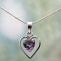 Amethyst heart necklace, 'Sweetheart' - Amethyst and Sterling Silver Necklace Heart Jewelry