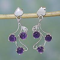 Amethyst earrings, 'Shy Violets' - Sterling Silver and Amethyst Earrings