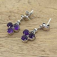 Amethyst dangle earrings, 'Love Trio' - Amethyst dangle earrings
