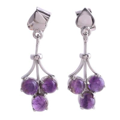 Amethyst dangle earrings, 'Love Trio' - Amethyst dangle earrings