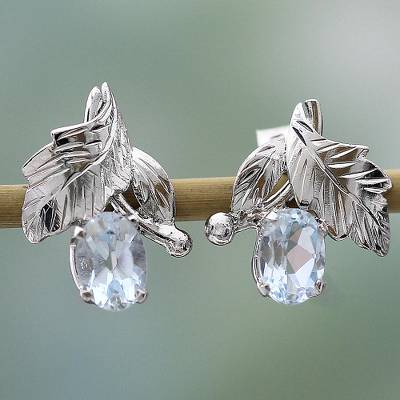 Topaz floral earrings, 'Sky Blossom' - Fair Trade Blue Topaz and Silver Earrings