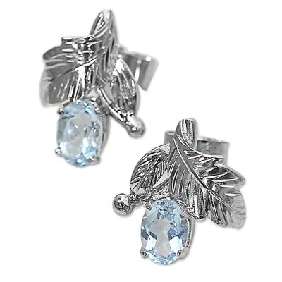 Topaz floral earrings, 'Sky Blossom' - Fair Trade Blue Topaz and Silver Earrings