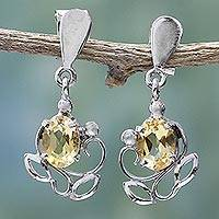 Citrine dangle earrings, 'Reverie' - Sterling Silver and Citrine Earrings from India