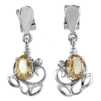 Sterling Silver and Citrine Earrings from India
