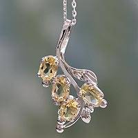 Citrine floral necklace, 'Golden Bouquet' - Citrine Pendant on Sterling Silver Necklace from India