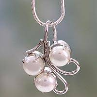 Pearl pendant necklace, 'Angelic Trio' - Unique Bridal Jewelry Sterling Silver Pearl Necklace