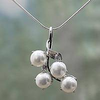 Pearl pendant necklace, 'Angelic Bouquet' - Bridal Pearl Jewelry Sterling Silver Necklace from India