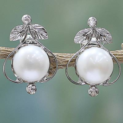 Pearl button earrings, 'Perfection' - Handcrafted Floral Pearl and Sterling Silver Earrings