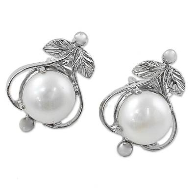 Handcrafted Floral Pearl and Sterling Silver Earrings