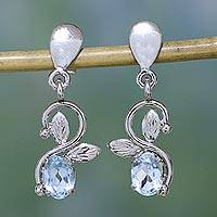 Topaz dangle earrings, 'Blue Magic' - Blue Topaz and Sterling Silver Dangle  Earrings