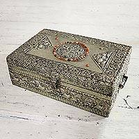 Brass jewelry box, 'Sunny Lace' - Brass jewelry box