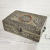 Brass jewelry box, 'Sunny Lace'